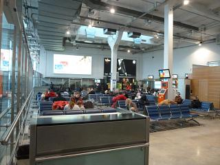 The waiting room in clean area of the domestic departures of the airport Khrabrovo