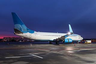 Boeing 737-800 VQ-BTS of Pobeda Airlines in the evening at Vnukovo Airport