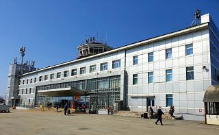 The old terminal of the airport of Yuzhno-Sakhalinsk Khomutovo
