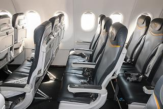 Passenger seats in the Airbus A321 of the airline Condor