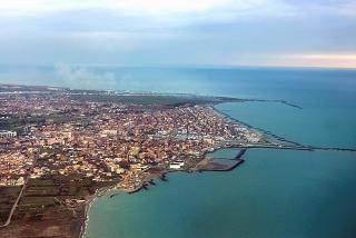 The town of Fiumicino and the Delta of the Tiber river