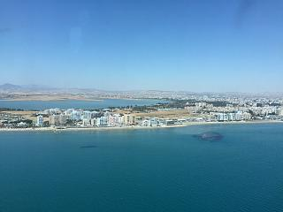 Views of Larnaca before landing at the airport
