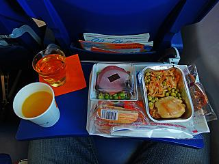 The catering meal on the Aeroflot flight Paris-Moscow