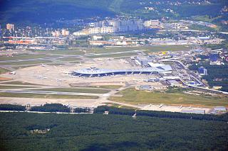 Passenger terminals and apron of the airport Vnukovo