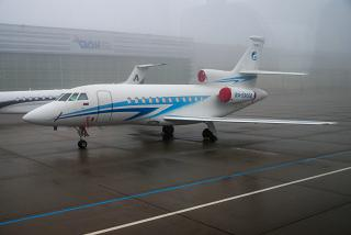 "Dassault Falcon 900EX of the airline ""Gazpromavia"" at Vienna airport"