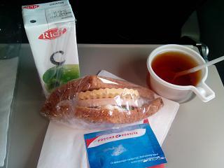 Бортовое питание на рейсе Санкт-Петербург-Москва авиакомпании