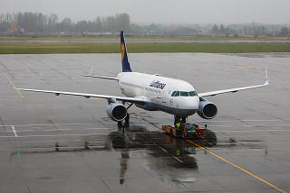 Airbus A320 from Lufthansa at the airport in Bucharest