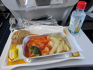 Food on the flight from Kyiv to Frankfurt of Lufthansa