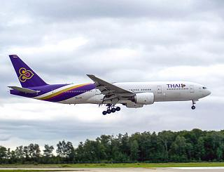 Boeing 777-200 of Thai Airways is landing at Domodedovo airport