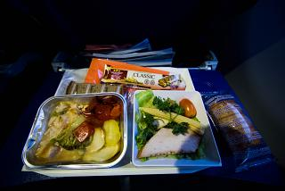 The catering meal on the Aeroflot flight Munich-Moscow