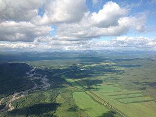 The view from the window during takeoff from Magadan