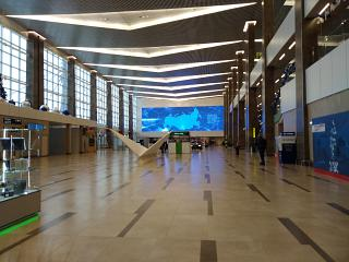 Common hall of the new terminal of airport Krasnoyarsk Emelyanovo