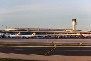 The view from the runway to the terminal 1 of Toronto Pearson international airport