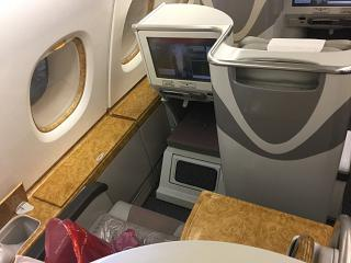 Seats business class in Airbus A380 Emirates