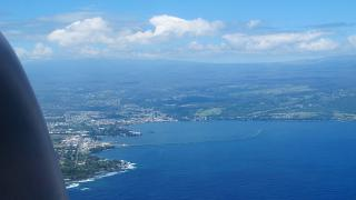 The city and Hilo Bay on Hawaii island