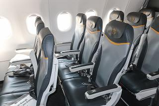 Passenger seats in the Airbus A321 aircraft of the German airline Condor