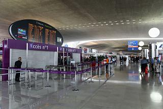 The departures area in terminal 2 of Paris airport Charles de Gaulle