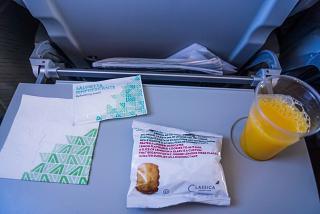 Biscuits and drinks - the food on Alitalia flight Rome-Catania