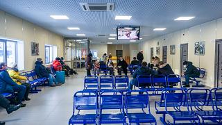 Inside the passenger terminal of Ust-Ilimsk airport