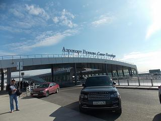 At the entrance to the new terminal of Pulkovo airport in St. Petersburg
