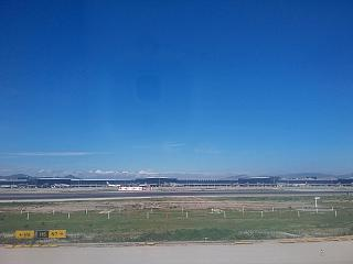 The view of the airport of Barcelona from the runway