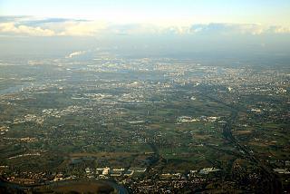 In the distance the city of Antwerp in Belgium