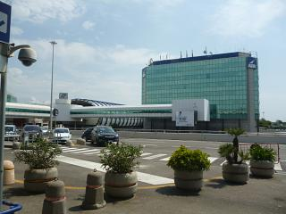 The administration building of the airport and the station Aeroexpress at the airport of Rome Fiumicino