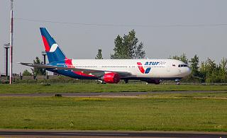 The Boeing-767-300 of Azur Air at the airport of Irkutsk
