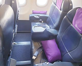 "Seats in business class in the Airbus A319 of the airline ""Aurora"""