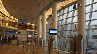 Gallery in a clean area in the terminal D of Sheremetyevo airport