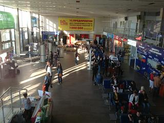 In the terminal of the Khrabrovo airport in Kaliningrad