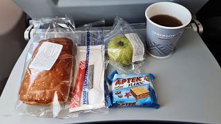 In-flight meals on Aeroflot flight Rostov-Moscow