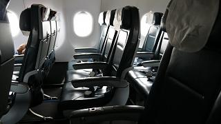 The passenger seats in the plane, an Airbus A320 LAN
