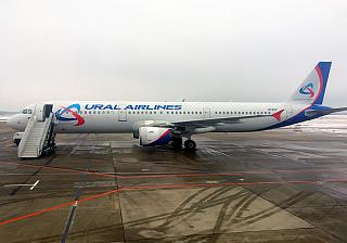The Airbus A321 Ural airlines at Domodedovo airport