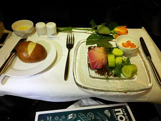 Cold snacks in business class on Aeroflot flight Moscow-Vladivostok