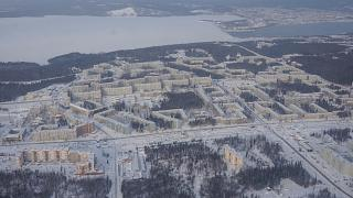 """New city"" of Ust-Ilimsk on the right bank of the Angara River"