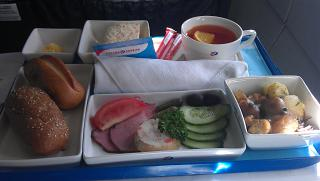 The food in business class airlines Russia flight Arkhangelsk-Saint Petersburg