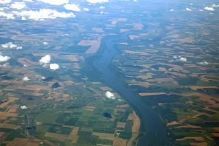 The Danube river which separates Bulgaria and Romania