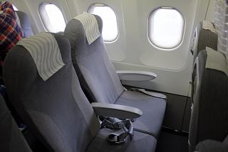 The passenger seats in the Airbus A319 of Finnair