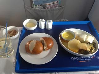 The meals in business class on Aeroflot flight Moscow-Sochi