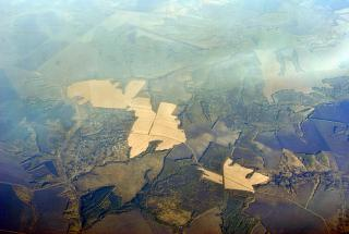 In flight over the Central part of Russia