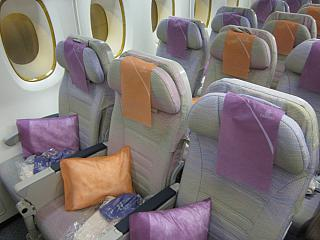 The economy class cabin Airbus A380 Emirates