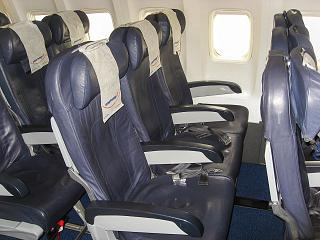 The passenger seats in the Boeing-737-800 of Smartwings airline