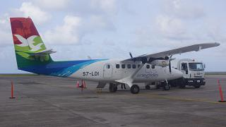 Aircraft DHC-6 Twin Otter Air Seychelles airport Mahe Seychelles
