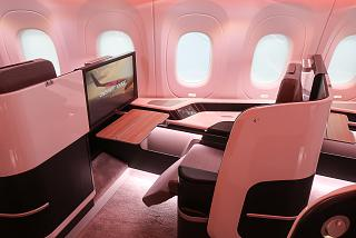 The passenger seat in business class of the plane CR929