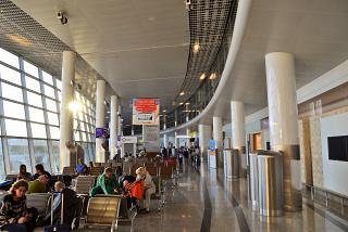 Waiting rooms in a clean zone of terminal D of Sheremetyevo airport