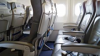 The passenger seats in the plane, an Airbus A320 Onur Air