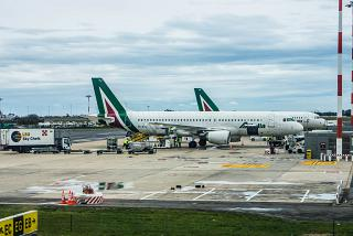 The Airbus A320 Alitalia at Rome airport Fiumicino