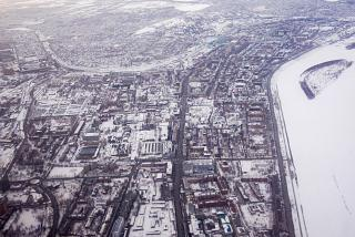 Rise above the center of Omsk