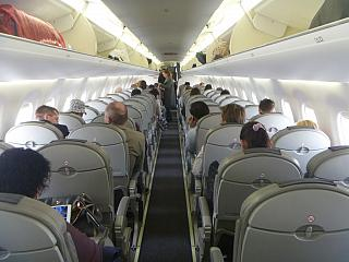 The cabin of the Embraer 195 airline Belavia